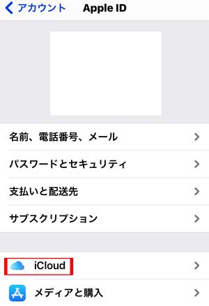 「iCloud」を選択